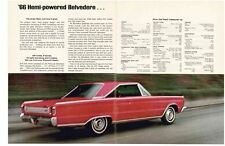 1966 PLYMOUTH HEMI BELVEDERE 426/425 HP  ~  ORIGINAL 2-PAGE MUSCLE CAR AD