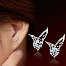 2015 Cute Women Silver Plated Jewelry Angel Wings Crystal Ear Stud Earrings Gift