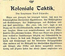 Hauptmann Kurd Schwabe Koloniale Taktik Erfolge in Feldzügen Leitartikel 1904