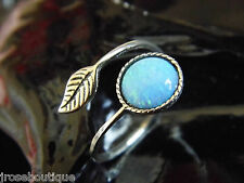 SILVER #JRk21716 Mermaids Tear Australian Blue Opal 925 Sterling Adjustable Ring