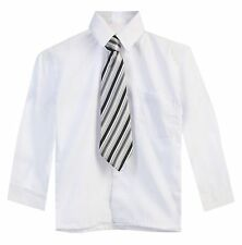 Boys Kids Long Sleeve Solid Color Button Down Formal Wear Dress Shirt & Tie  New
