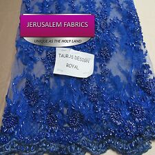 Super Bridal luxury wedding beaded royal blue mesh lace fabric. Sold by the yard
