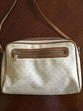 "Gucci Vintage Cream ""GG"" Mongram with Tan Leather Woman's Shoulder Bag Authentic"