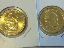 2 Coin Set Both 2009 D John Tyler Presidential Golden Dollar BU Gold $1