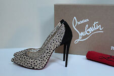 sz 5.5 / 36 Christian Louboutin Follies Lace Tulle Glitter Pointed Toe Pump Shoe