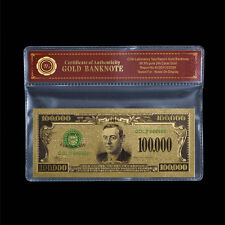 Unique Colored US Dollar Bill Note $100,000 24k .999 Gold Foil American Banknote