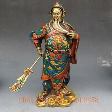 9.2 Inch Chinese cloisonne handwork carved statue - Guan Gong