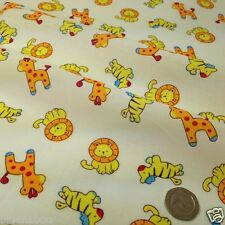 per half  metre Day at the zoo cream polycotton fabric width 44""