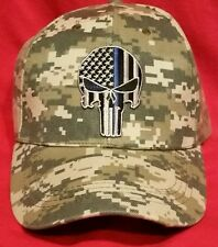 Police Punisher Thin Blue Line Ball Cap hat police USA flag SWAT