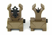 Tan FDE Premium Tactical Flip up Front Rear Iron Sight Set Diamond Aperture BUIS
