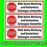 3er Set Briefkasten Aufkleber - STOPP - KEINE WERBUNG und ZEITUNGEN einwerfen