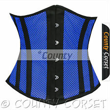 Underbust Steel Boned Heavy Lacing Shaper Blue Black Mesh Summer Corset Korset