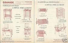 Publicité ancienne _ GRANADE Tables Tourne Disques et Classeurs Dessins Cotés