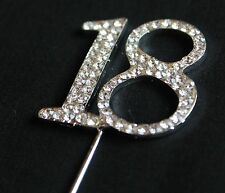 SILVER NUMBER 18 CAKE PICK TOPPER DECORATION 18TH DIAMANTE SPARKLY