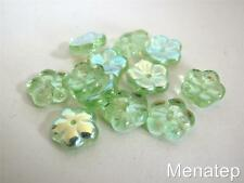 25 8x3mm Flat Flower Beads: Peridot AB