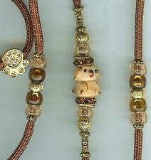 CUTE! CUSTOM BEADED DOG SHOW LEAD LEASH - SNAPLEAD/RUST