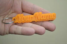 Personalised Rubber 3D Keyring Novelty Keychain Key fob Custom Name Tags