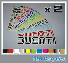 2 x DUCATI (Open Centre Logo) Vinyl Decals / Stickers Bellypan Tank Swingarm etc