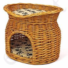 Wicker Pet Bed Cat Puppy Small Dog Basket Pod Two Tier Cushion House Easipet New