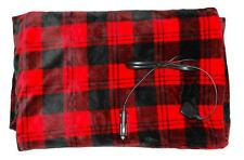 TARTAN RED Large 150x110cm / 12v Electric Heated Travel BLANKET - Luxury Fleece!