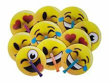 "24-Pack of 10"" Emoji Face Paper Folding Fans! Great Kids Party Favor! Variety of"