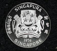 Rare 1974 Singapore Silver Proof Deep Cameo $10 Crown Coin!!   Original Box/COA