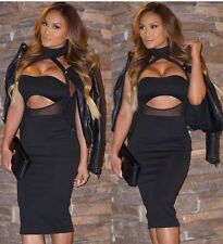 Womens Dress Black Cut Out High Neck Mesh Design Bodycon Glam sexy Celeb style