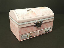 French Style Jewellery Box With Ring Rolls Pink Xmas Gift