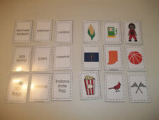 Indiana laminated Picture Word Matching Preschool learning activity. Geography