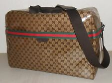 Auth GUCCI Crystal GG Coated Canvas Overnight Weekender Travel Bag ~ Khaki ~ NWT