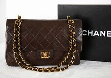 Auth Chanel brown lambskin leather double Flap shoulder bag 2.55