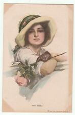 Harrison Fisher Glamour Postcard Two Roses 382 Reinthal & Newman Vintage