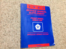 1993 CHRYSLER DODGE PLYMOUTH FWD FRONT WHEEL DRIVE Service Shop Manual SUPPLEMEN