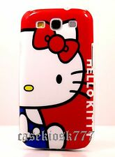 for samsung galaxy S3 case cover cute kitten hello kitty white  & red blue//