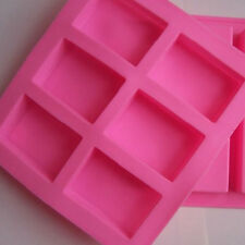 6-Cavity Rectangle Soap Mold Silicone for Homemade DIY Making Multi Color