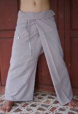 Thai Fisherman Trousers Pants Yoga Samurai Kung Fu Tai Chi Boho Maternity Beige