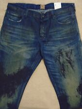 PRPS BARRACUDA Straight Smeared Paint Dark Blue Men Jeans 36 x 34 Orig.$300+SALE