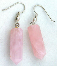 Sterling Silver Plated Natural Rose Quartz Crystal Point Gem Earrings ES7475
