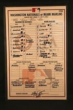 Bryce Harper Rookie Game Used Line Up Card Nationals MLB Authenticated