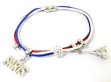 bracelet aimanté tricolore drapeau fr paris souvenir tour Eiffel shamballa 19cm