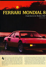 1982 Ferrari Mondial Classic Original Road Test Print Article - Y15