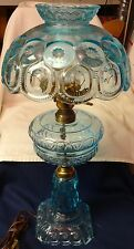 """Moon and Star Blue Electric Lamp  24"""" L G Wright Glass Company"""