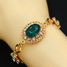 Fashion Jewelry Gold Chain Green Turquoise Charm Rhinestone Bangle Bracelet