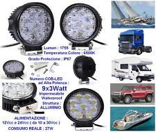 FARO MARINO ALTA POTENZA 9 COB LED x3W=27W WHITE BIANCO PURO 12V-24V IP67 BARCA