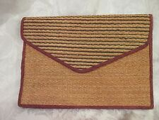 "Vintage ""33 East"" Woven Natural Fiber Large Envelope Clutch  Made in Philippines"