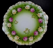 "R C Bavaria Malmaison Large Charger Rose Garland 13 1/4"" Green Scalloped Edge"