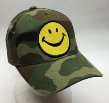 Happy Face Hat Camo Camouflage Ballcap Ball Cap Smiley Face hat Smily