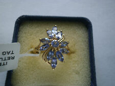 AA Violet Tanzanite Floral Cluster 14K YGold/925 Ring Size L