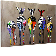 Framed Print Picture Zebras Back Canvas Wall Art Ready To Hang Multicolor Animal