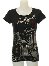 Desigual Black Print Barcelona Graphic Tee Size Small